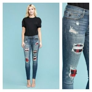 9 11 13 15 Plaid Patch Skinny Jeans